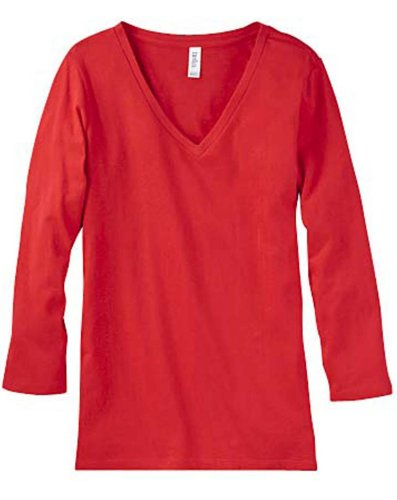 Bella 6425 Ladies 4.2 Oz. Missy 3/4-Sleeve V-Neck Shirt Jersey T-Shirt - Red - Xx-Large