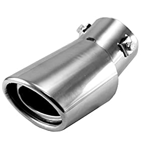 Foxnovo Stainless Steel Drop Down Auto Car Exhaust Tail Pipe Tailpipe Muffler Silencer Pipe (Silver)
