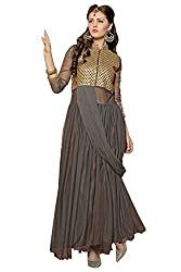 Vibes Womens Georgette Patch Work Anarkali Dress Material (V234-1002 _Grey _Free Size)
