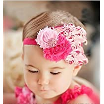 Lovely Ovely Unusal Cotton Girls Baby Pink And Rose Feather Hairband Headband