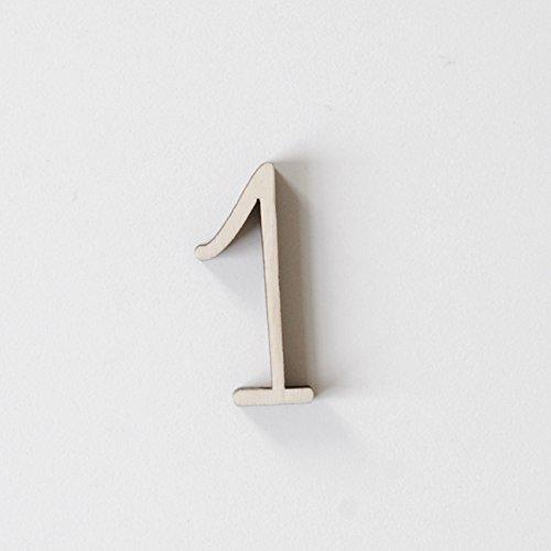 ONEOFF TOYS bellissimo numero 1 in legno di pioppo naturale tagliato al laser H: 4CM BIMBI