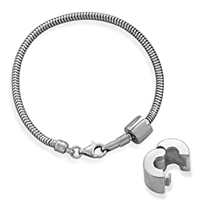 Sterling Silver 8.5 Inch 2.8mm Snake Chain Bracelet With Locking Bead - JewelryWeb