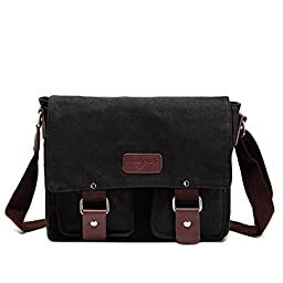 Sechunk Small Retro Cotton Canvas Messenger Bag Shoulder Bag Ipad Bag Tote Bag Sports Bag Gym Bag Weekend Bag Hiking Bag Camping Bag Travel Duffel Bag Working Bag Satchel Bag Crossbody Bag for Men and Women Black