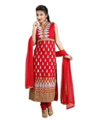 Sharmili Womens Georgette Fabric Ready-To-Wear Straight Salwar Suit With All-Over Zari Embroidery