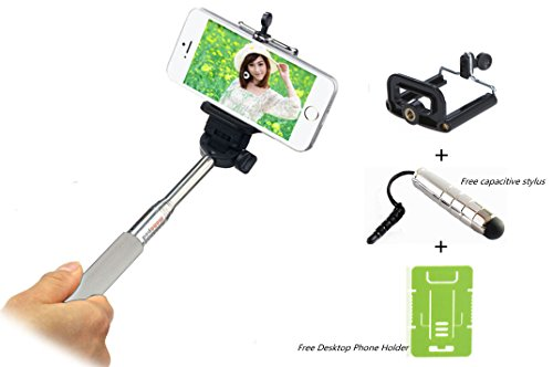 Wonbsdom(Tm)Extendable Self-Portrait Telescopic Handheld Monopod With Universal Adajustable Phone Holder Mount+Capacitive Stylus Kit For Iphone&Samsung&All Smartphones(White)