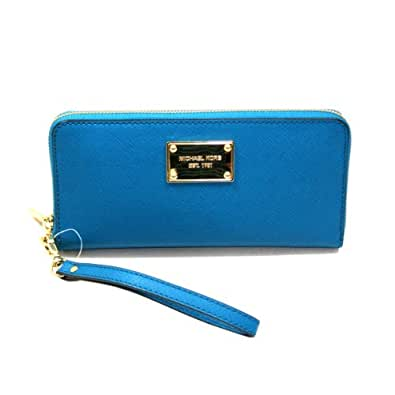 Michael Kors Saffiano Turquoise Genuine Leather Iphone Continental Zip Around Wallet/ Clutch/ Wristlet (Blue) #32S3MELE1L