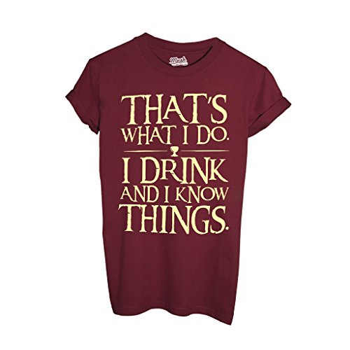 T-Shirt I DRINK AND I KNOW THINGS IMP - FILM by Mush Dress Your Style - Uomo-M-Rosso Cardinal