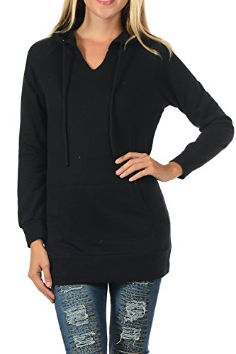 YourStyle Long Sleeve Tunic Top & Hoodie Sweatshirt (Large, YS040-Black) (Hooded Sweatshirt Tunic compare prices)