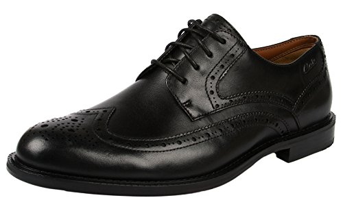 Clarks - Dorset Limit, Scarpe con lacci Richelieu da uomo, nero (black leather), 41.5