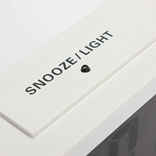 ELEGIANT Large LCD Display Digital Snooze Alarm Clock Thermometer LED Backlight blanc
