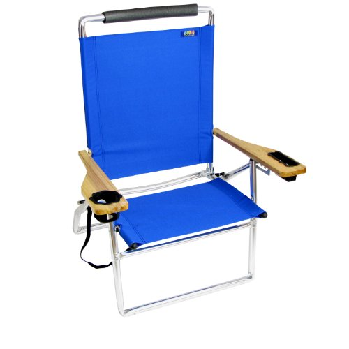 Deluxe 4 Position High Seat Aluminum Beach Chair Blue 4