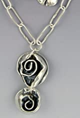 Necklace Oval Chain with Double Rose Drop