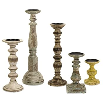 IMAX 5544-5 Kanan Wood Candleholders In Distressed Finishes , Set of 5