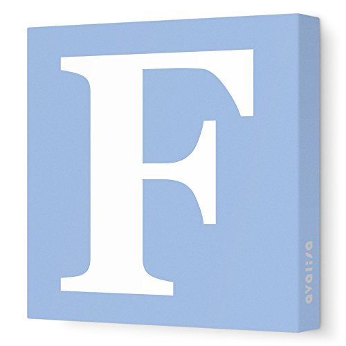 "Avalisa Stretched Canvas Upper Letter F Nursery Wall Art, Blue, 12"" x 12"""