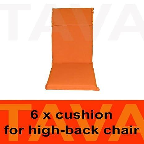 MEBELINO AHO6 - Set von 6 Sitzauflagen MEBELINO AHO fur Hochlehner Gartenstuhle, wasserabweisend, mit Zipper, 115 (70 + 45)x50 cm, 5 cm dick, orange
