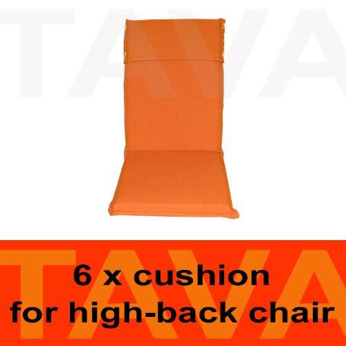 MEBELINO AHO6 - Set von 6 Sitzauflagen MEBELINO AHO für Hochlehner Gartenstühle, wasserabweisend, mit Zipper, 115 (70 + 45)x50 cm, 5 cm dick, orange