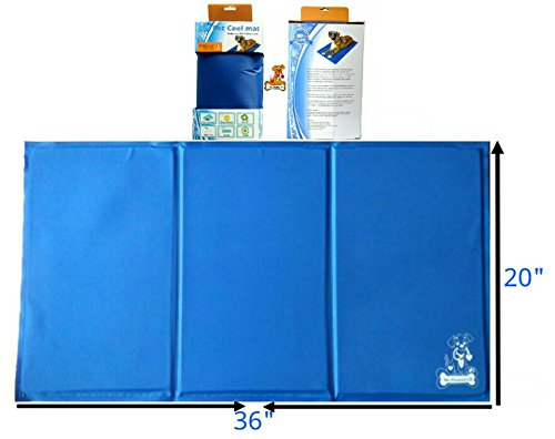 Mr. Peanut's Chill Pad * Pressure Activated Comfort Cooling Non-Toxic Gel Pet Mat * No Chilling Required * Perfect for Floors, Couches, Car Seats, Pet Beds & Kennels * 36″ x 20″