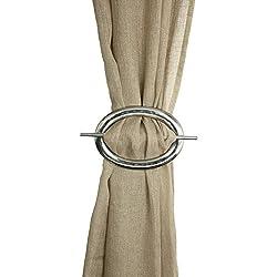 Decor Mart - Silver Curtain Buckle - Plain - Metal - Set of 2 - Size 8 X 6 inch