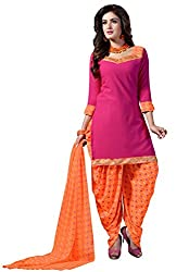 Salwar House Pink & Orange Unstitched Synthetic Printed Dress Material with Dupatta