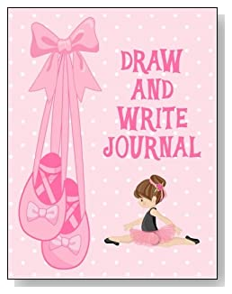 Draw and Write Journal For Girls - A cute little brunette ballerina against a mostly pink background graces the cover of this draw and write journal for younger girls.