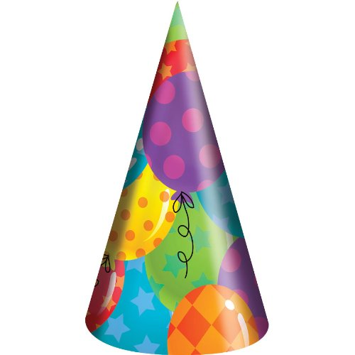 Balloon Patterns Party Hats (8ct)