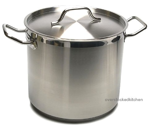 20 QT STAINLESS STEEL STOCK POT W/ LID (COMMERCIAL GRADE NSF)