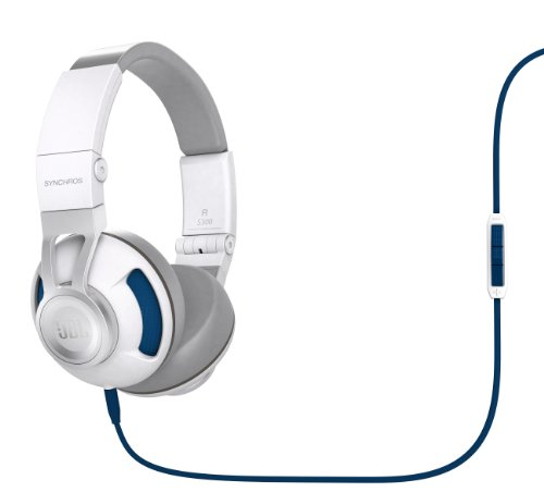Jbl Synchros S300 Premium On-Ear Stereo Headphones With Apple 3-Button Remote, White/Blue
