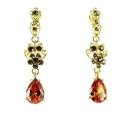 Brown On Gold Plated Gemstone Teardrop Earrings front-931948