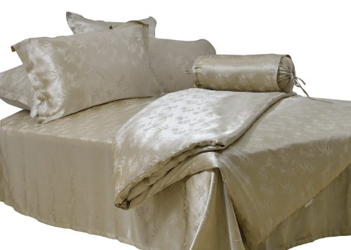 Coloursilk 100% Silk 4 Piece Bedding Set Champagne Jacquard Bamboo Leaves Pattern: 2-023 front-725262