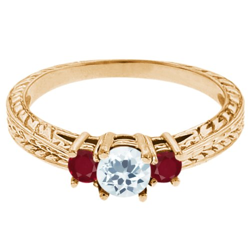 0.61 Ct Round Sky Blue Topaz Red Ruby 18K Yellow Gold 3-Stone Ring