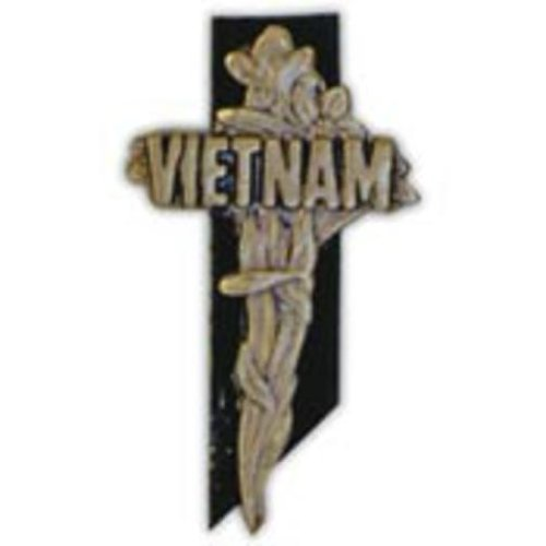 Vietnam War Memorial Cross Pin 1 1/2