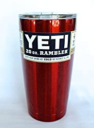 Yeti Custom Metallic Red 20 oz Rambler Tumbler Stainless Steel Cup with Lid - Keeps your drink hot or cold! *