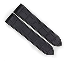 buy 24.5Mm Black Grain Leather Strap Watch Band Fits Cartier Santos 100 Xl Chronograph By Vintage G.