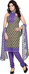 MELLUHA Dark Khaki Printed Cotton Dress Material