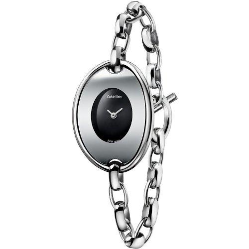 Calvin Klein K3H23121 - Reloj para mujeres, correa de acero inoxidable color plateado