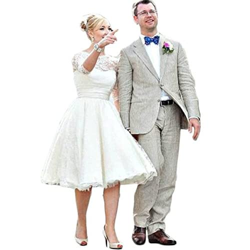 Hot Dresses Vintage Short Lace Wedding Dresses 3/4 Sleeves Tea Length Bridal Gowns