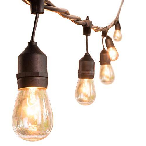 48Ft Outdoor String Lights Weatherproof Vintage Edison Patio Lights with 11 Watt Dimmable S14 Incandescent Bulbs for Deck Backyard Bistro Cafe Market Pergola Garden Wedding and Party Decor, Black