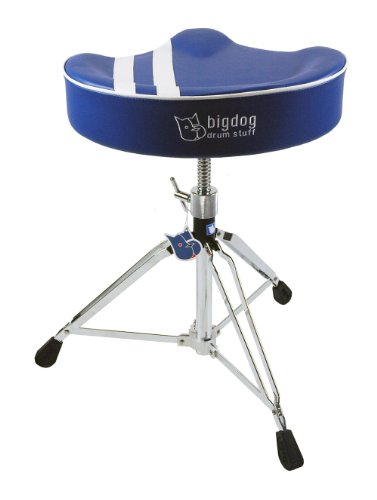 Bigdog Custom Saddle Drum Throne Retro Design - Blue / White Stripe