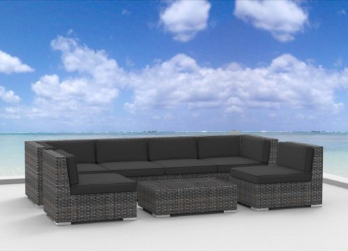 Urban Furnishing - OAHU 7pc Modern Outdoor Backyard Wicker Rattan Patio Furniture Sofa Sectional Couch Set - Charcoal