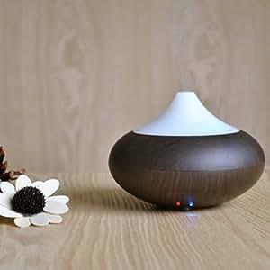 amzdeal® Humidificateur ultrasonique/ Diffuseur Aroma/ Diffuseur d'huiles essentielles / humidificateur grain du bois/ diffuseur de parfum de lumière avec la prise d'UE (bois foncé)