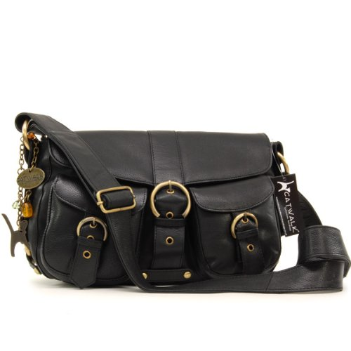 Catwalk Collection Louisa Cross-Body Bag - Black