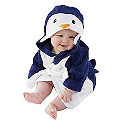 Mainaisi Baby Hooded Bathrobe Towels Cotton Cartoon Animal Wrap for Infant 0-3years (Blue Penguin)