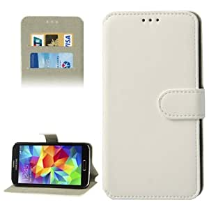 Crazy4Gadget Horizontal Flip Leather Case with Credit Card Slots & Holder for Samsung Galaxy S5 / G900 (White)