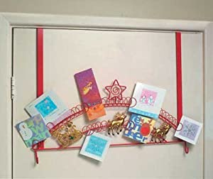 Over door christmas card holder sleigh design red with for Door xmas card holders