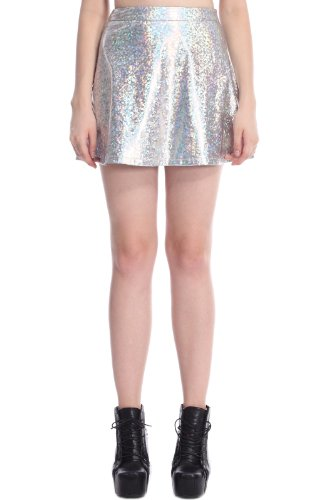 Romwe Women'S Colorful Holographic Material Patterns Vinyl Skirt-Silver-S front-145292