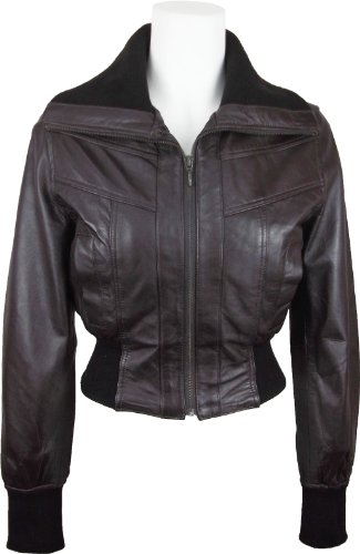 UNICORN Womens Short Bomber Style Real Leather Jacket Brown #EB (14)