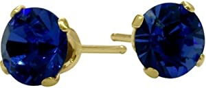 0.60Ct. Genuine 4mm Round Sapphire 14 Karat Yellow Gold Stud Earrings