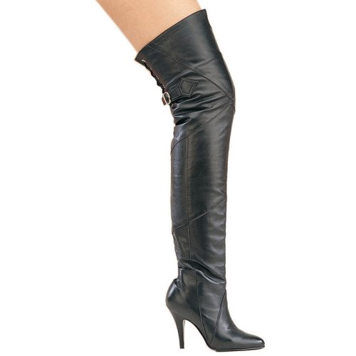 Legend-8890, 4 Pull-On Thigh-High Leather Boot with Buckle And Lacing in Sizes 6-16, by Pleaser USA