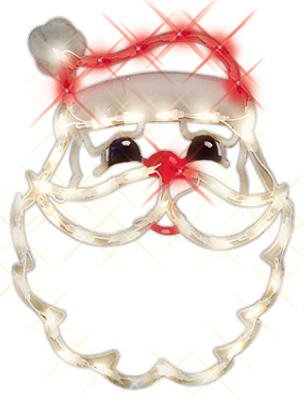 Lighted Santa Face With Suction Cup Christmas Window Decoration