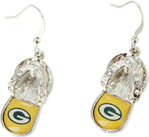 Green Bay Packers Flip Flop Earrings front-966425